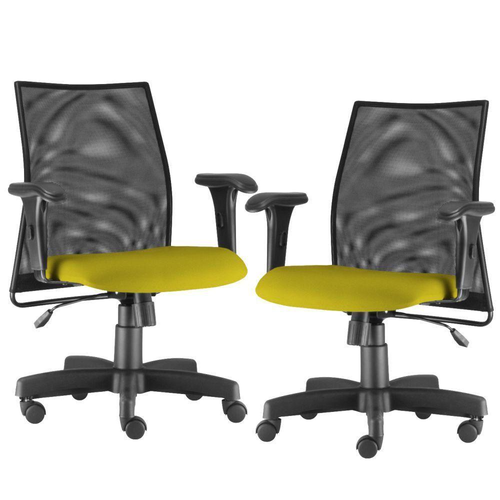 Kit 02 Cadeiras de Escritório Giratória Ergonômica Liss L02 Suede Amarelo - Lyam Decor