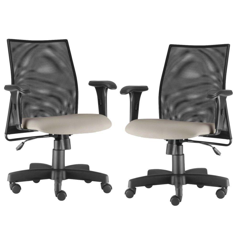 Kit 02 Cadeiras de Escritório Giratória Ergonômica Liss L02 Suede Bege - Lyam Decor
