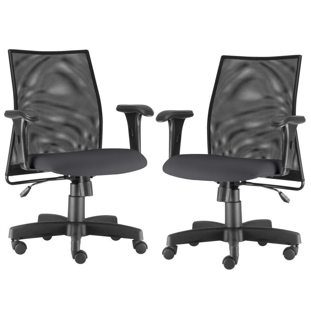 Kit 02 Cadeiras de Escritório Giratória Ergonômica Liss L02 Crepe Cinza - Lyam Decor