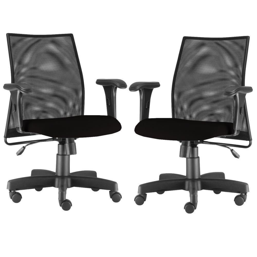 Kit 02 Cadeiras de Escritório Giratória Ergonômica Liss L02 Crepe Preto - Lyam Decor