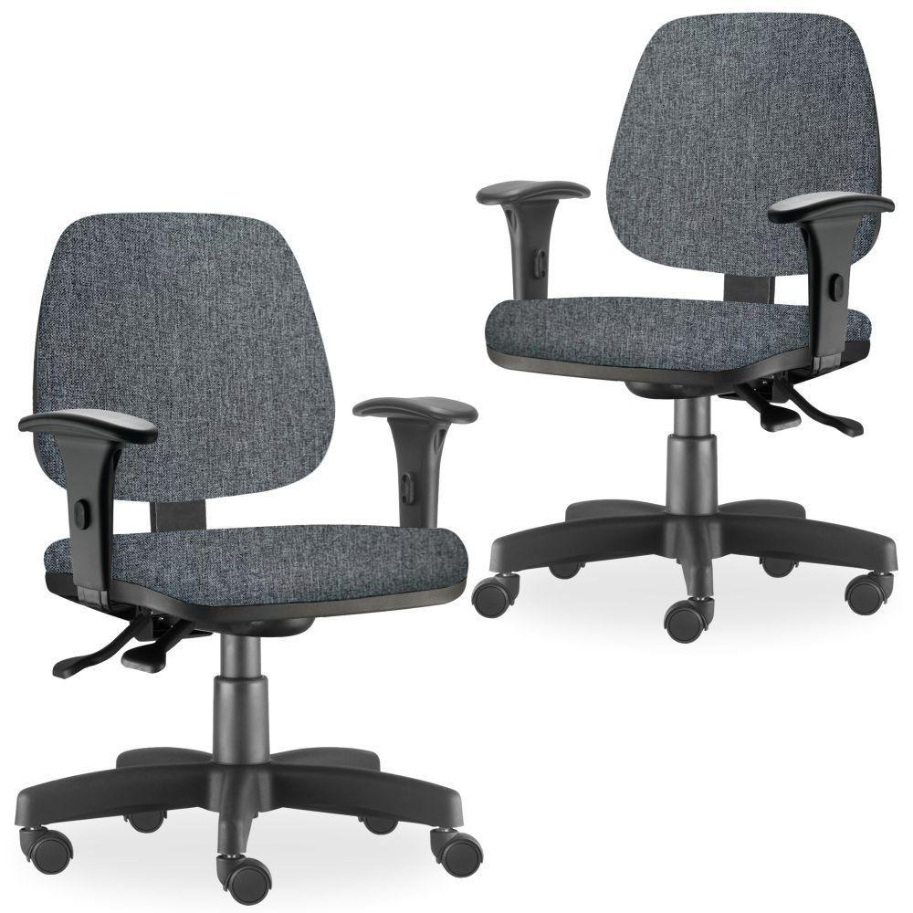 Kit 02 Cadeiras de Escritório Giratória Executiva Ergonômica Job L02 Linho Chumbo - Lyam Decor