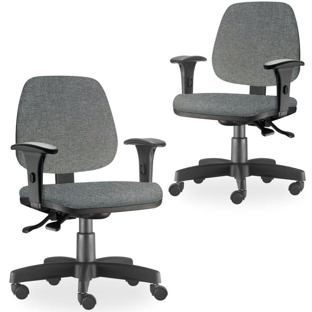 Kit 02 Cadeiras de Escritório Giratória Executiva Ergonômica Job L02 Linho Cinza Escuro - Lyam Decor