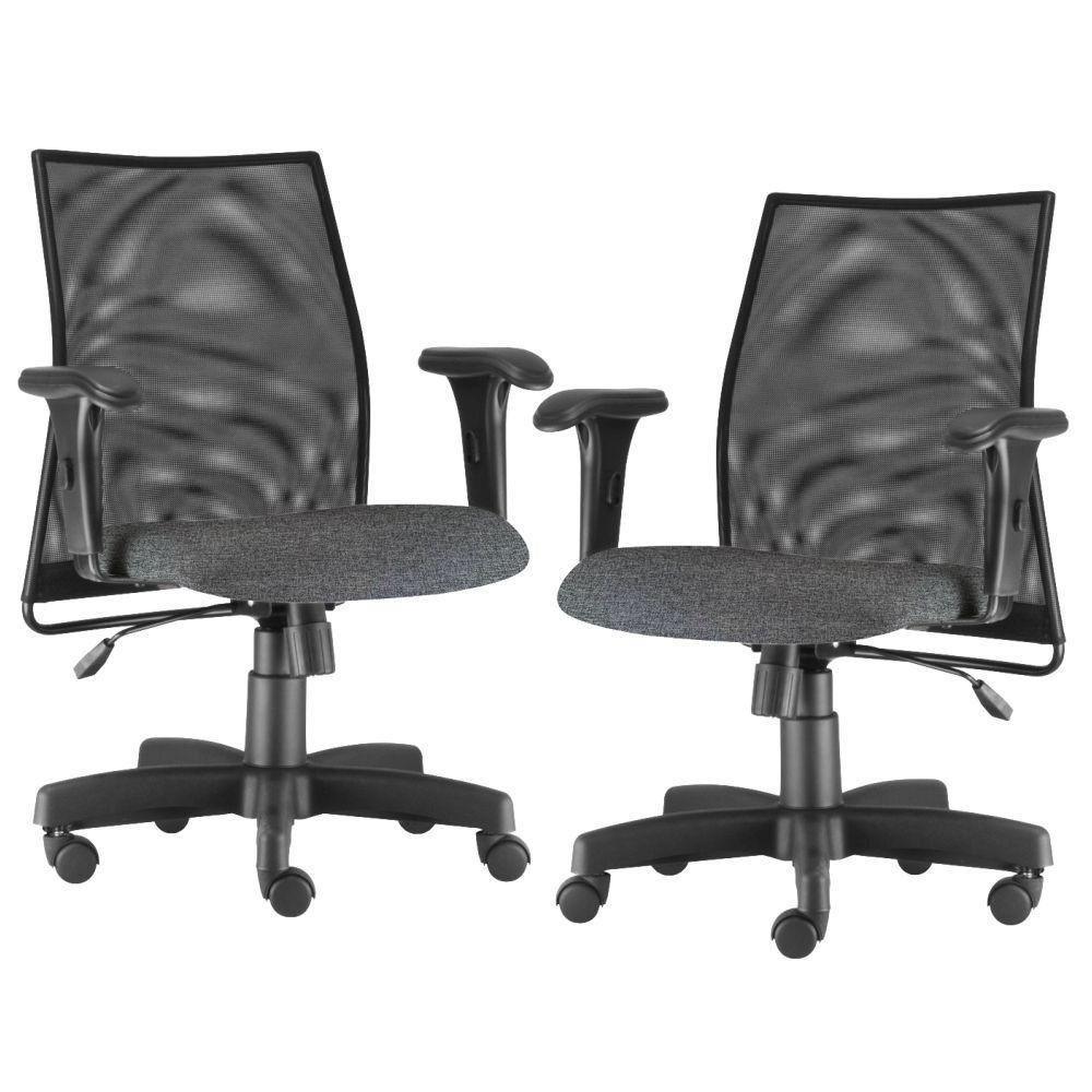Kit 02 Cadeiras de Escritório Giratória Executiva Ergonômica Liss L02 Linho Chumbo - Lyam Decor