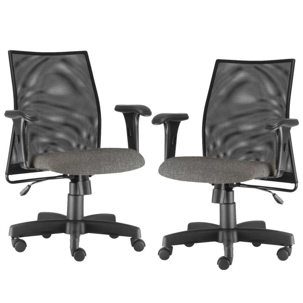 Kit 02 Cadeiras de Escritório Giratória Executiva Ergonômica Liss L02 Linho Cinza Escuro - Lyam Decor
