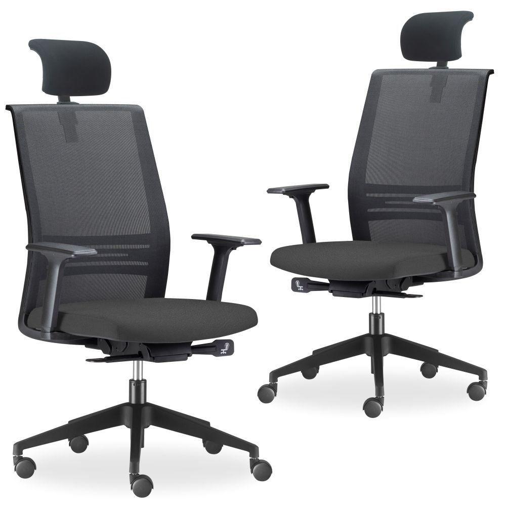 Kit 02 Cadeiras de Escritório Giratória Presidente Com Apoio de Cabeça Agile F02 Preto - Lyam Decor