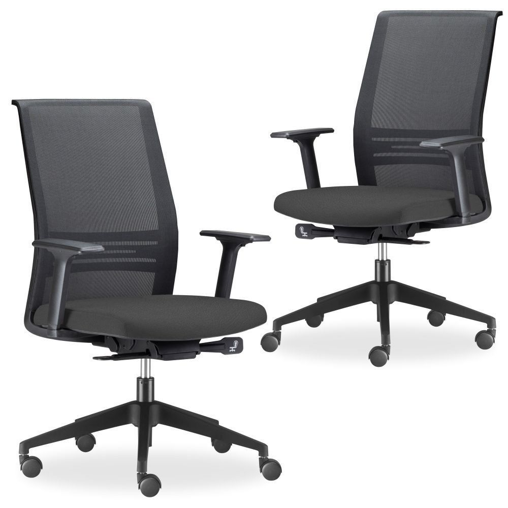 Kit 02 Cadeiras de Escritório Giratória Presidente Executiva Agile F02 Preto - Lyam Decor