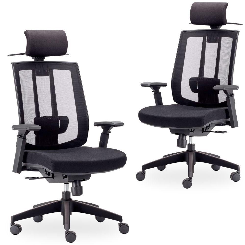 Kit 02 Cadeiras de Escritório Giratória Presidente Executiva Song F02 Preto - Lyam Decor