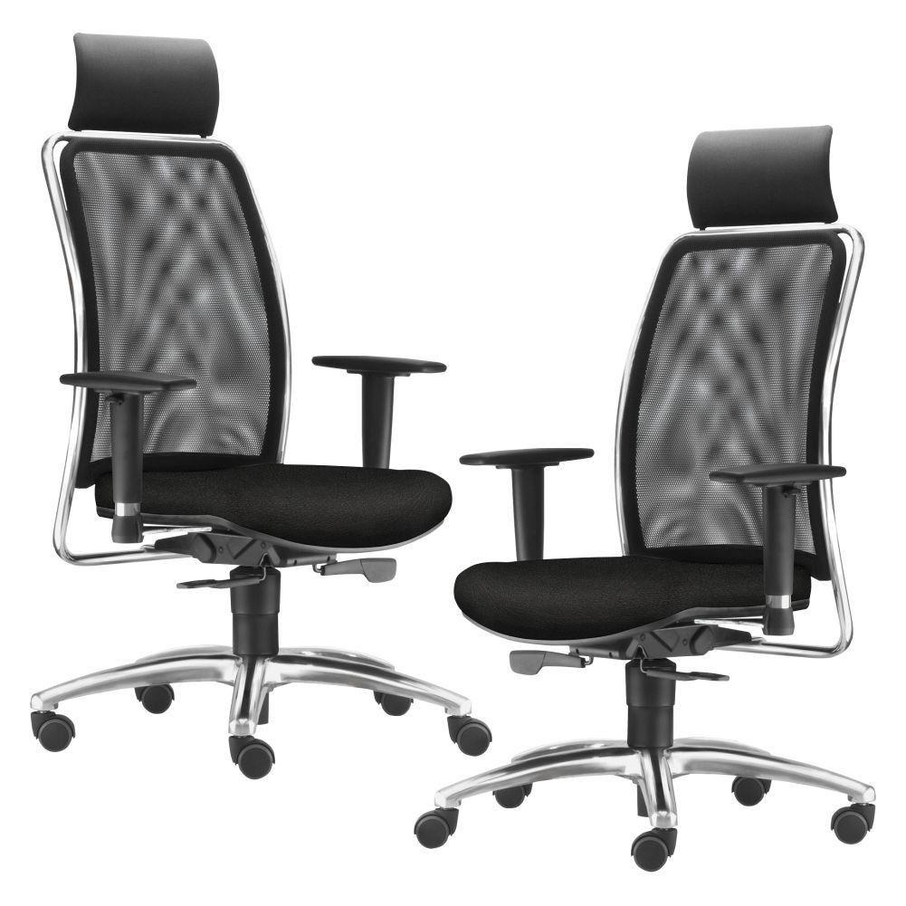 Kit 02 Cadeiras de Escritório Giratória Presidente Soul L02 Cromado Couro Sintético Preto - Lyam Decor