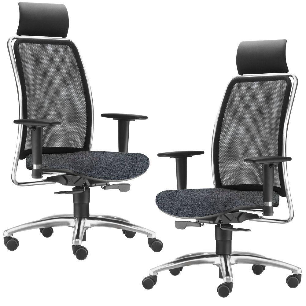 Kit 02 Cadeiras de Escritório Giratória Presidente Soul L02 Cromado Linho Chumbo - Lyam Decor