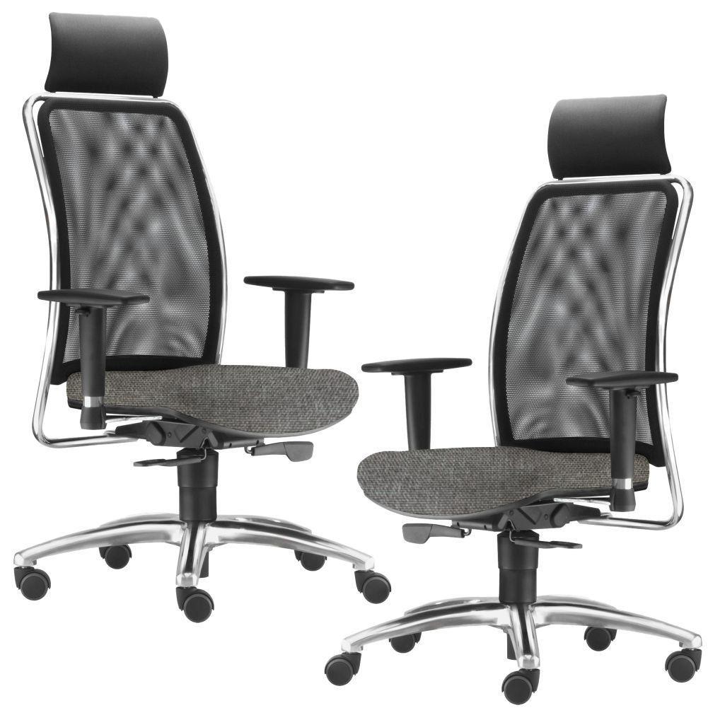 Kit 02 Cadeiras de Escritório Giratória Presidente Soul L02 Cromado Linho Cinza Escuro - Lyam Decor