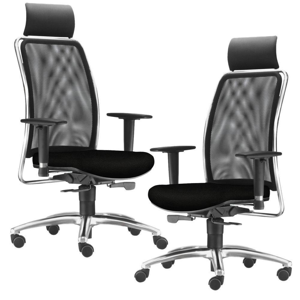 Kit 02 Cadeiras de Escritório Giratória Presidente Soul L02 Cromado Crepe Preto - Lyam Decor