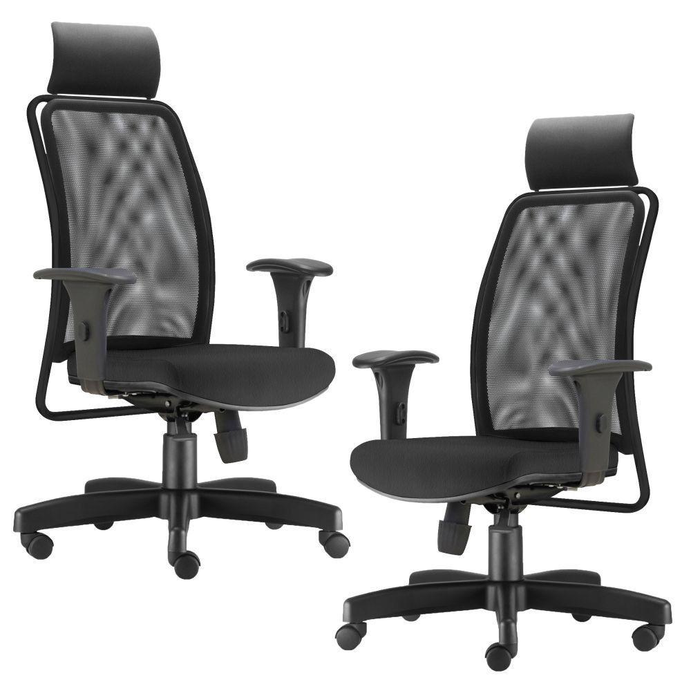 Kit 02 Cadeiras de Escritório Giratória Presidente Soul L02 Preto Couro Sintético Preto - Lyam Decor