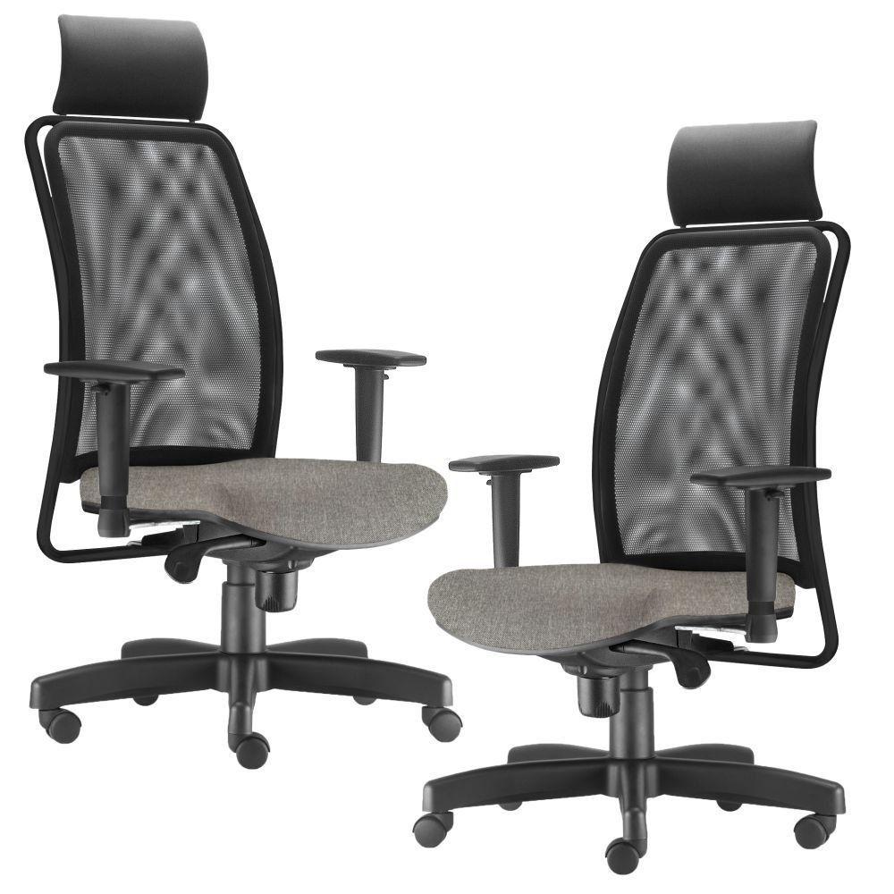 Kit 02 Cadeiras de Escritório Giratória Presidente Soul L02 Preto Linho Cinza Escuro - Lyam Decor