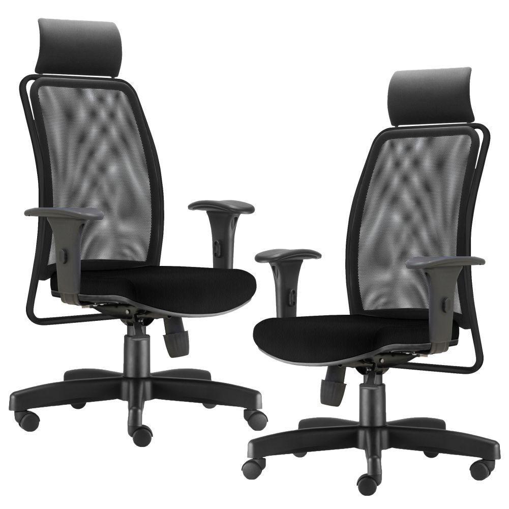 Kit 02 Cadeiras de Escritório Giratória Presidente Soul L02 Preto Crepe Preto - Lyam Decor