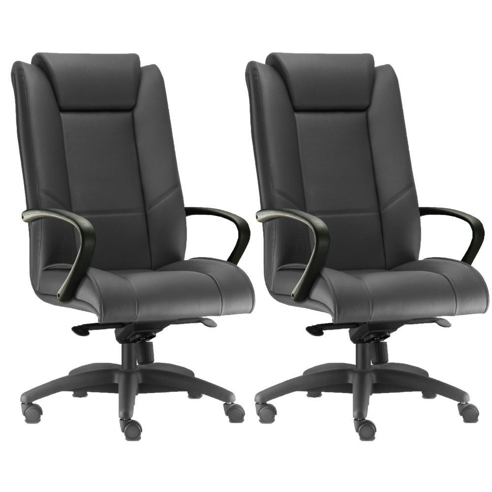Kit 02 Cadeiras de Escritório Presidente Executiva New Onix F02 Couro Ecológico Preto - Lyam Decor