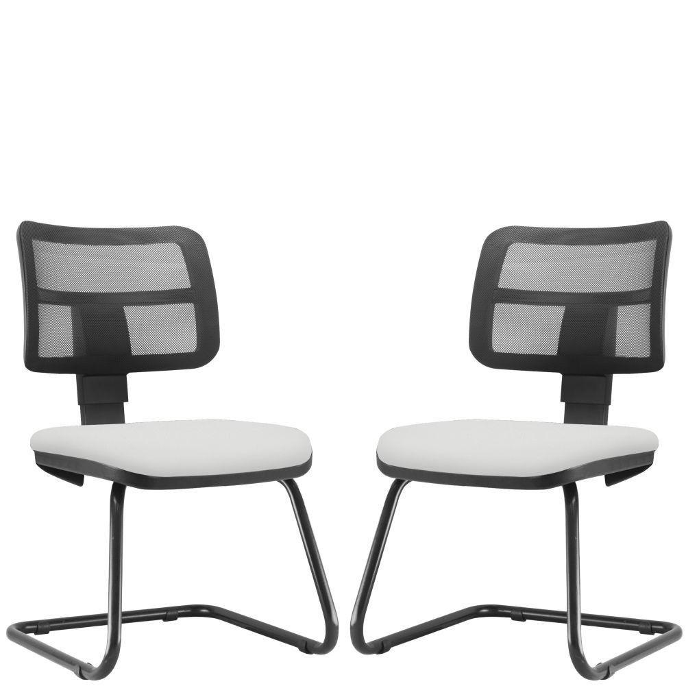 Kit 02 Cadeiras de Escritório Recepção Fixa Zip L02 Couro Sintético Branco - Lyam Decor