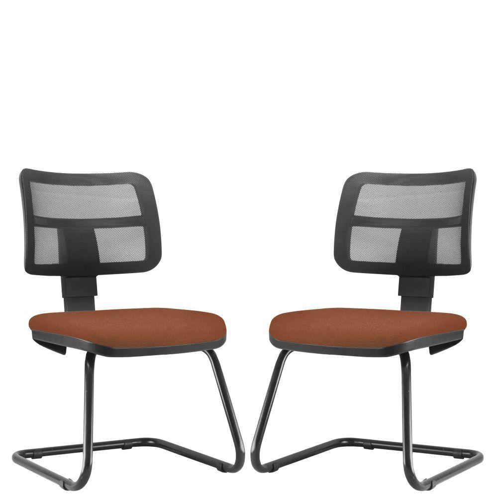 Kit 02 Cadeiras de Escritório Recepção Fixa Zip L02 Couro Sintético Camel - Lyam Decor