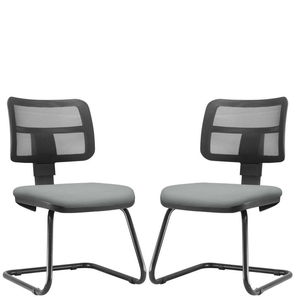 Kit 02 Cadeiras de Escritório Recepção Fixa Zip L02 Couro Sintético Cinza - Lyam Decor