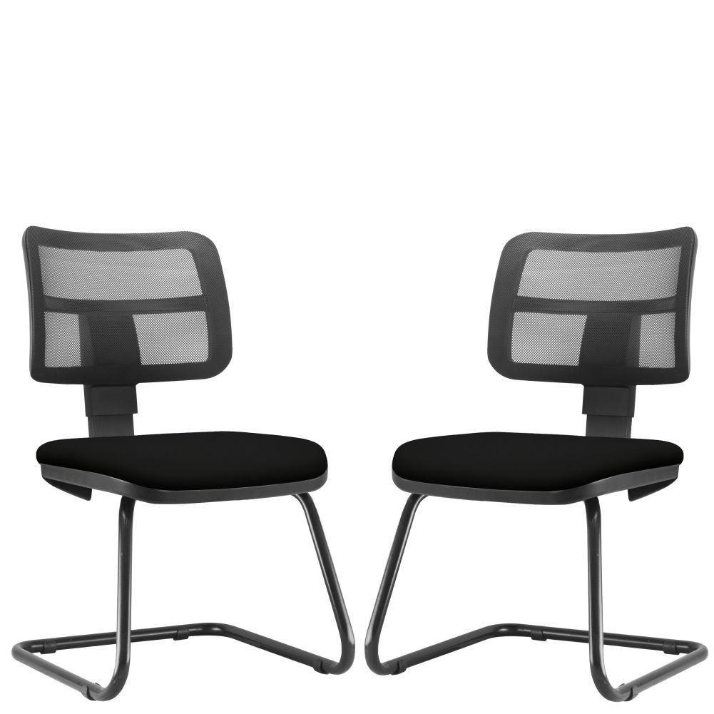 Kit 02 Cadeiras de Escritório Recepção Fixa Zip L02 Couro Sintético Preto - Lyam Decor