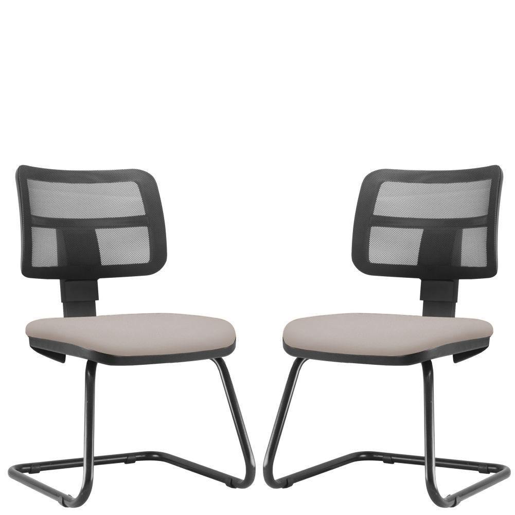 Kit 02 Cadeiras de Escritório Recepção Fixa Zip L02 Linho Bege - Lyam Decor