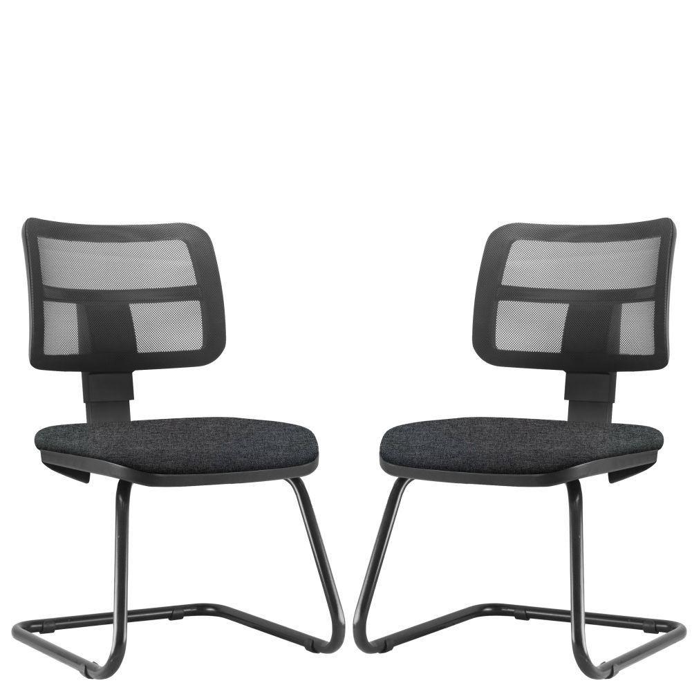 Kit 02 Cadeiras de Escritório Recepção Fixa Zip L02 Linho Chumbo - Lyam Decor