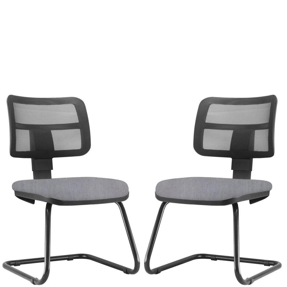 Kit 02 Cadeiras de Escritório Recepção Fixa Zip L02 Linho Cinza - Lyam Decor