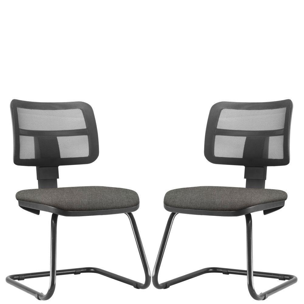 Kit 02 Cadeiras de Escritório Recepção Fixa L02 Zip Linho Cinza Escuro - Lyam Decor