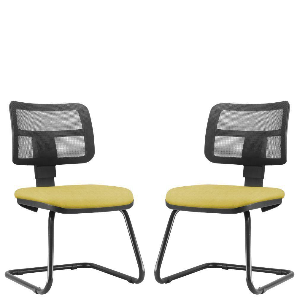 Kit 02 Cadeiras de Escritório Recepção Fixa Zip L02 Suede Amarelo - Lyam Decor