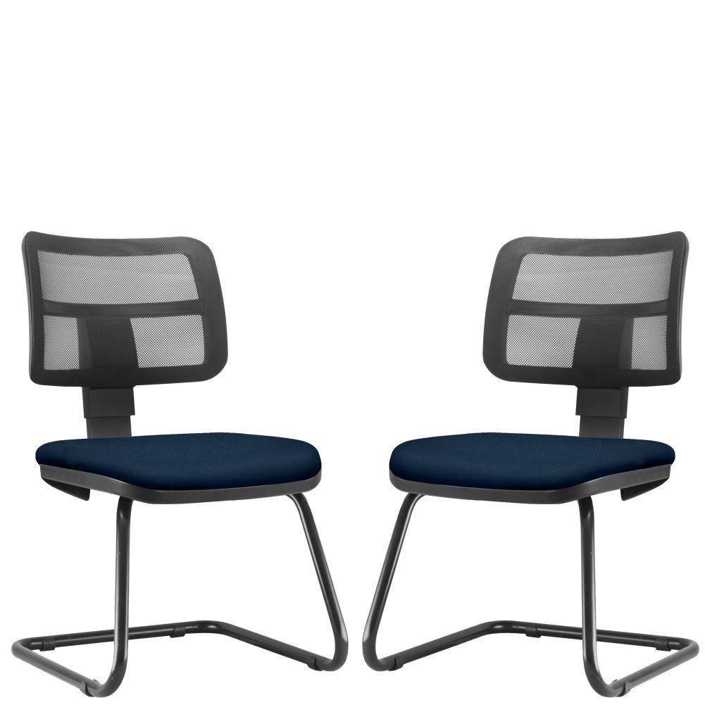 Kit 02 Cadeiras de Escritório Recepção Fixa Zip L02 Crepe Azul Marinho - Lyam Decor