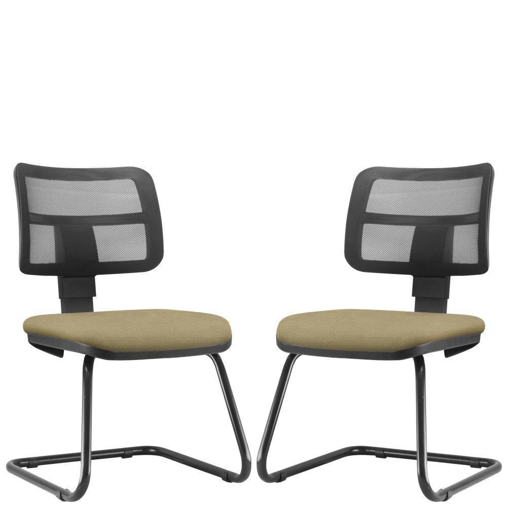 Kit 02 Cadeiras de Escritório Recepção Fixa Zip L02 Suede Bege - Lyam Decor