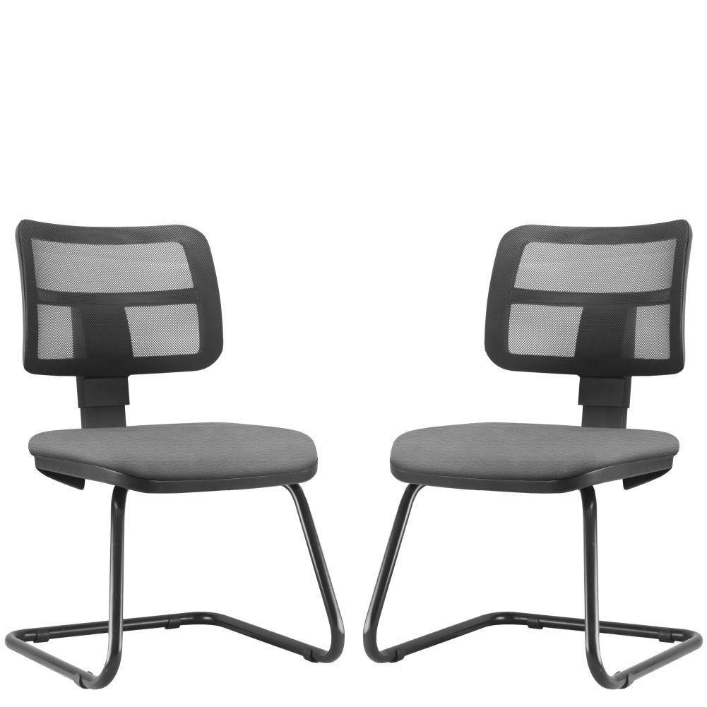 Kit 02 Cadeiras de Escritório Recepção Fixa Zip L02 Crepe Cinza - Lyam Decor