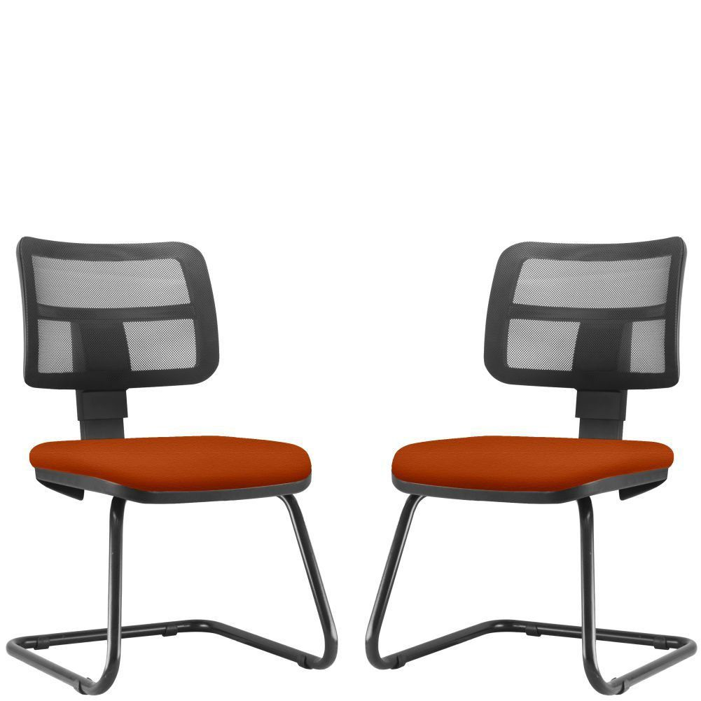 Kit 02 Cadeiras de Escritório Recepção Fixa Zip L02 Suede Laranja - Lyam Decor