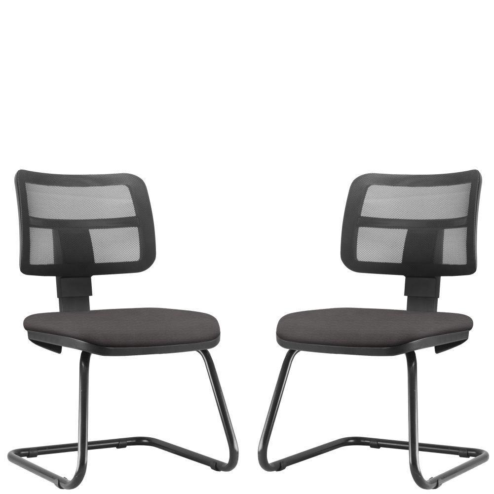 Kit 02 Cadeiras de Escritório Recepção Fixa Zip L02 Suede Marrom - Lyam Decor