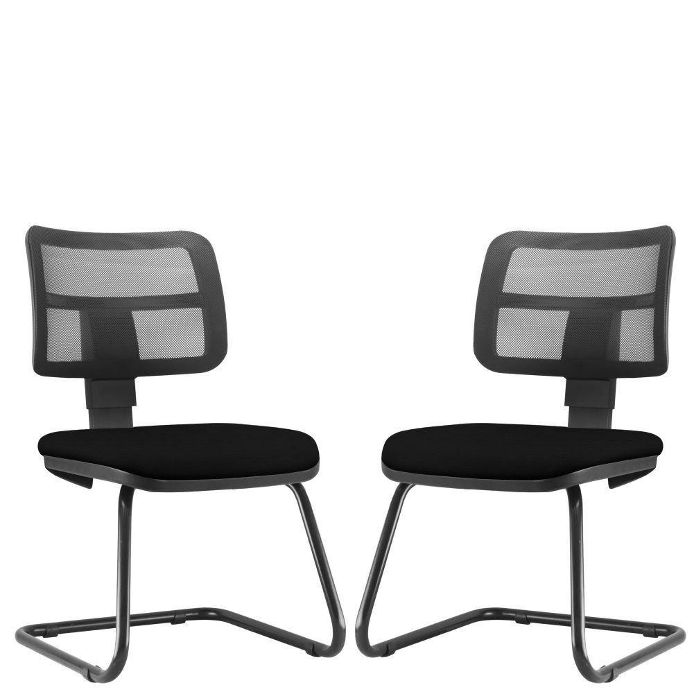 Kit 02 Cadeiras de Escritório Recepção Fixa Zip L02 Crepe Preto - Lyam Decor
