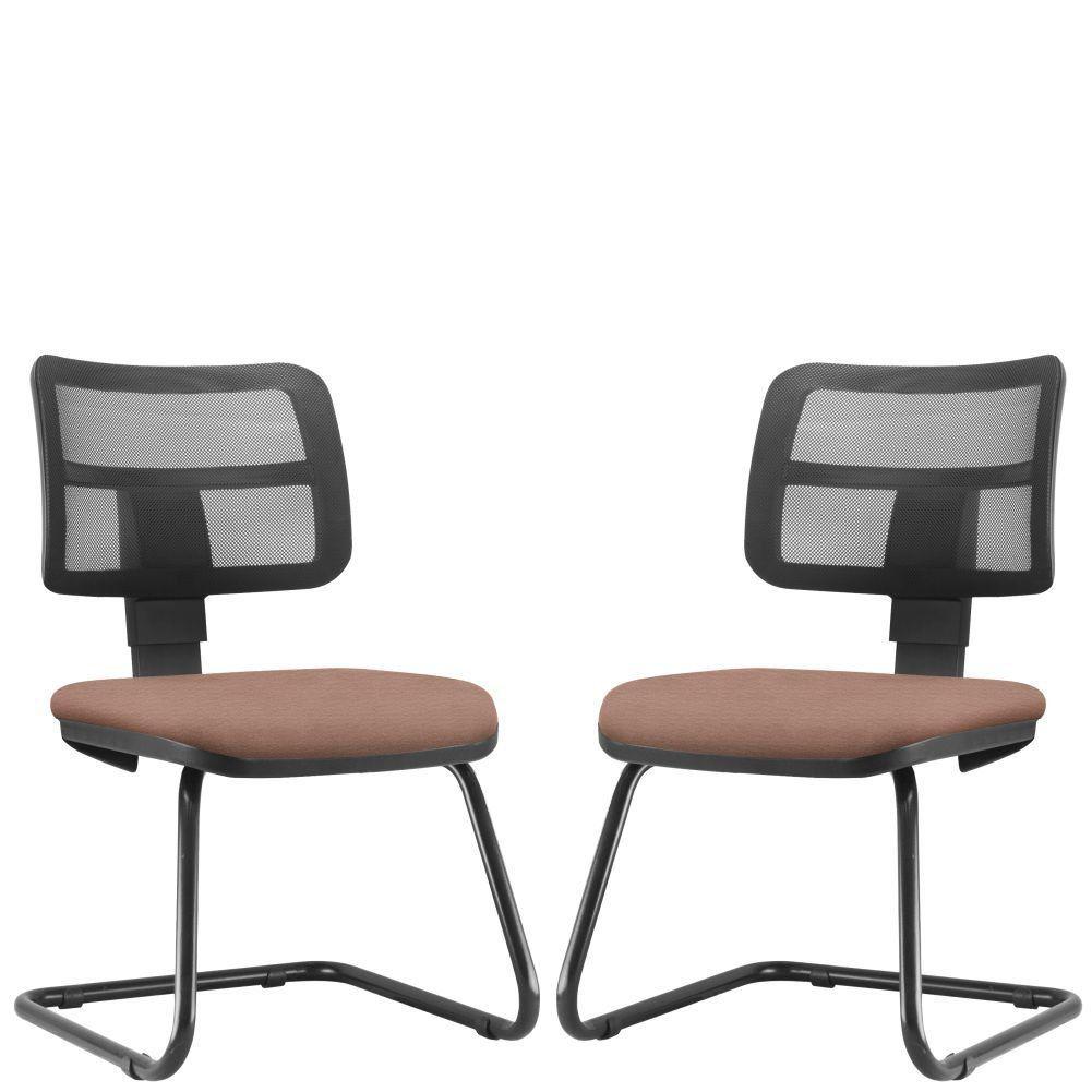 Kit 02 Cadeiras de Escritório Recepção Fixa Zip L02 Suede Rosê - Lyam Decor