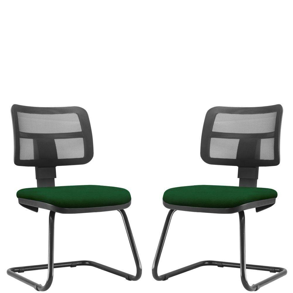 Kit 02 Cadeiras de Escritório Recepção Fixa Zip L02 Crepe Verde Musgo - Lyam Decor