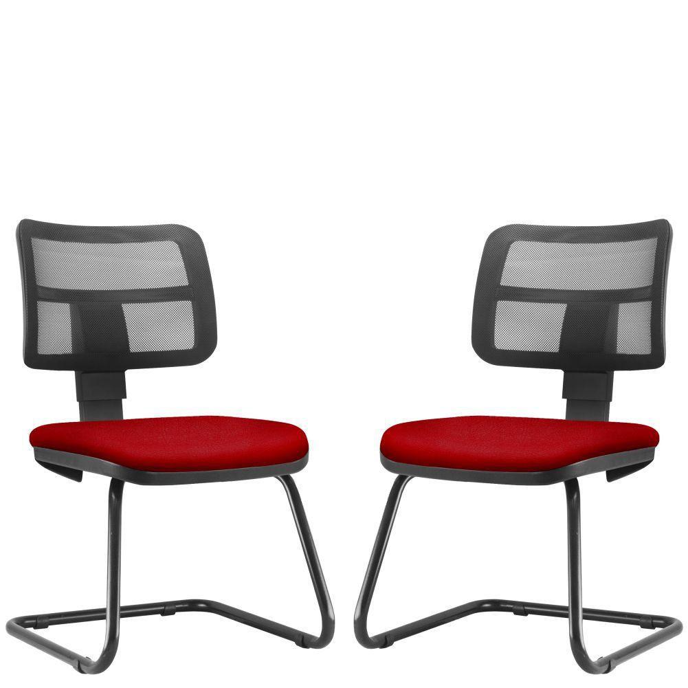 Kit 02 Cadeiras de Escritório Recepção Fixa Zip L02 Suede Vermelho - Lyam Decor
