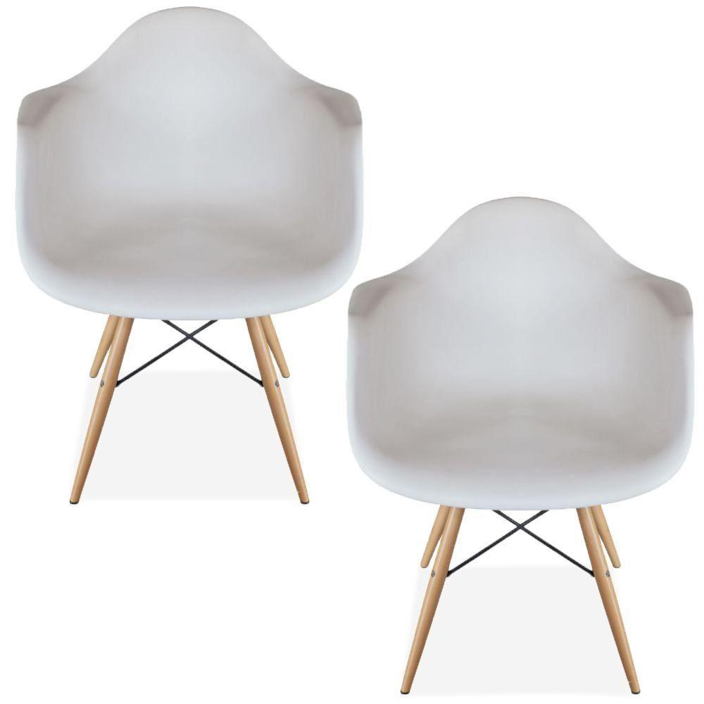 Kit 02 Cadeiras Decorativa Eiffel Melbourne F03 Branco com Pés de Madeira - Lyam Decor