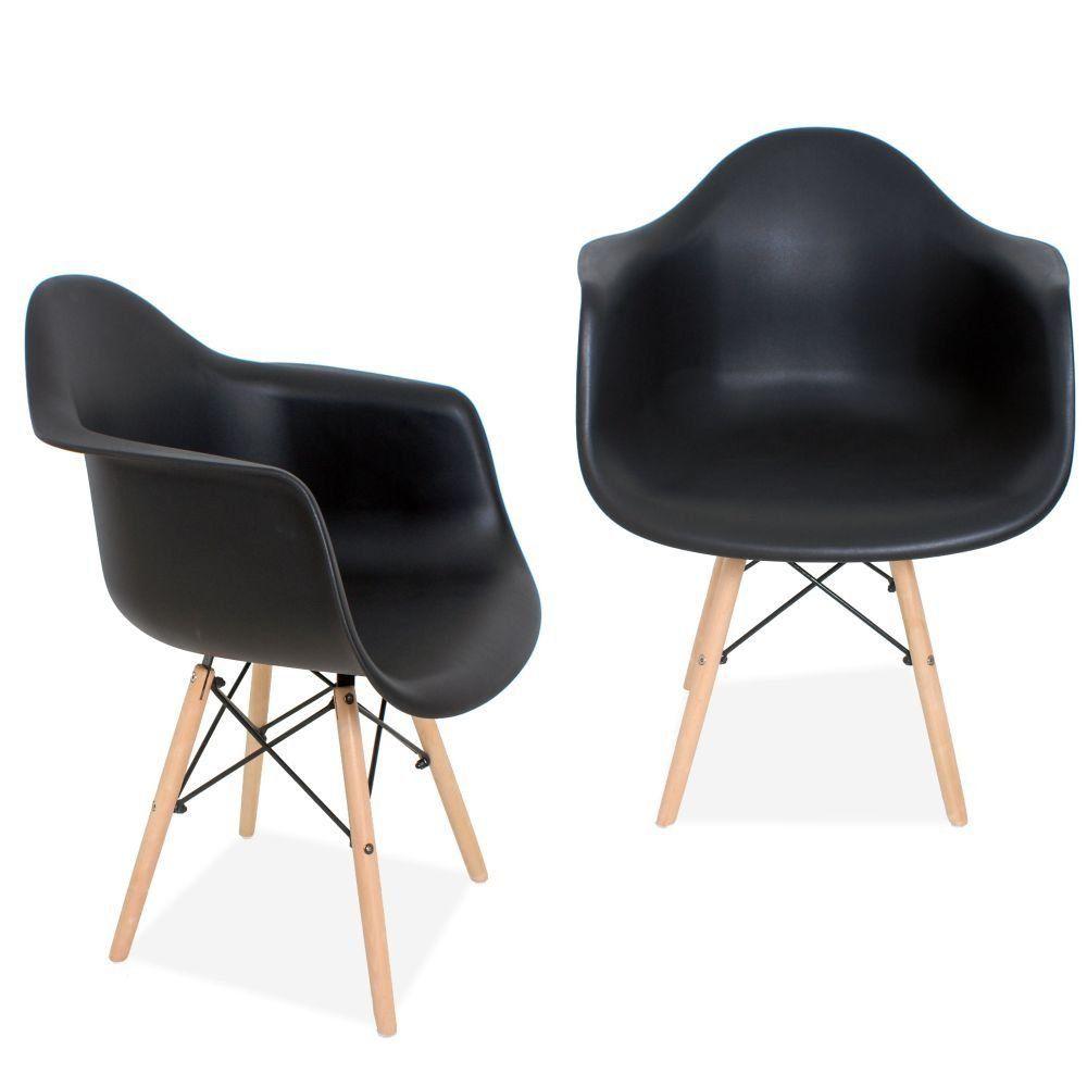 Kit 02 Cadeiras Decorativa Eiffel Melbourne F03 Preto com Pés de Madeira - Lyam Decor