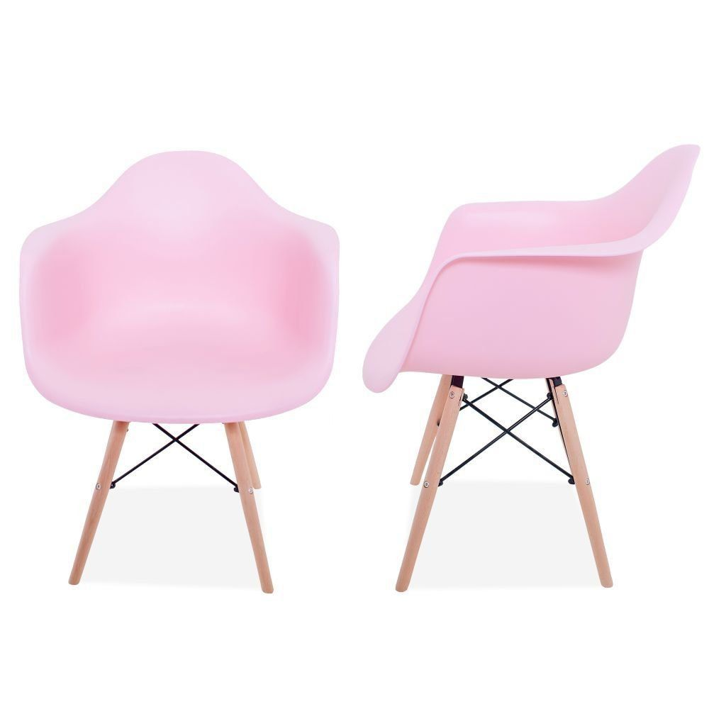 Kit 02 Cadeiras Decorativa Eiffel Melbourne F03 Rosa com Pés de Madeira - Lyam Decor