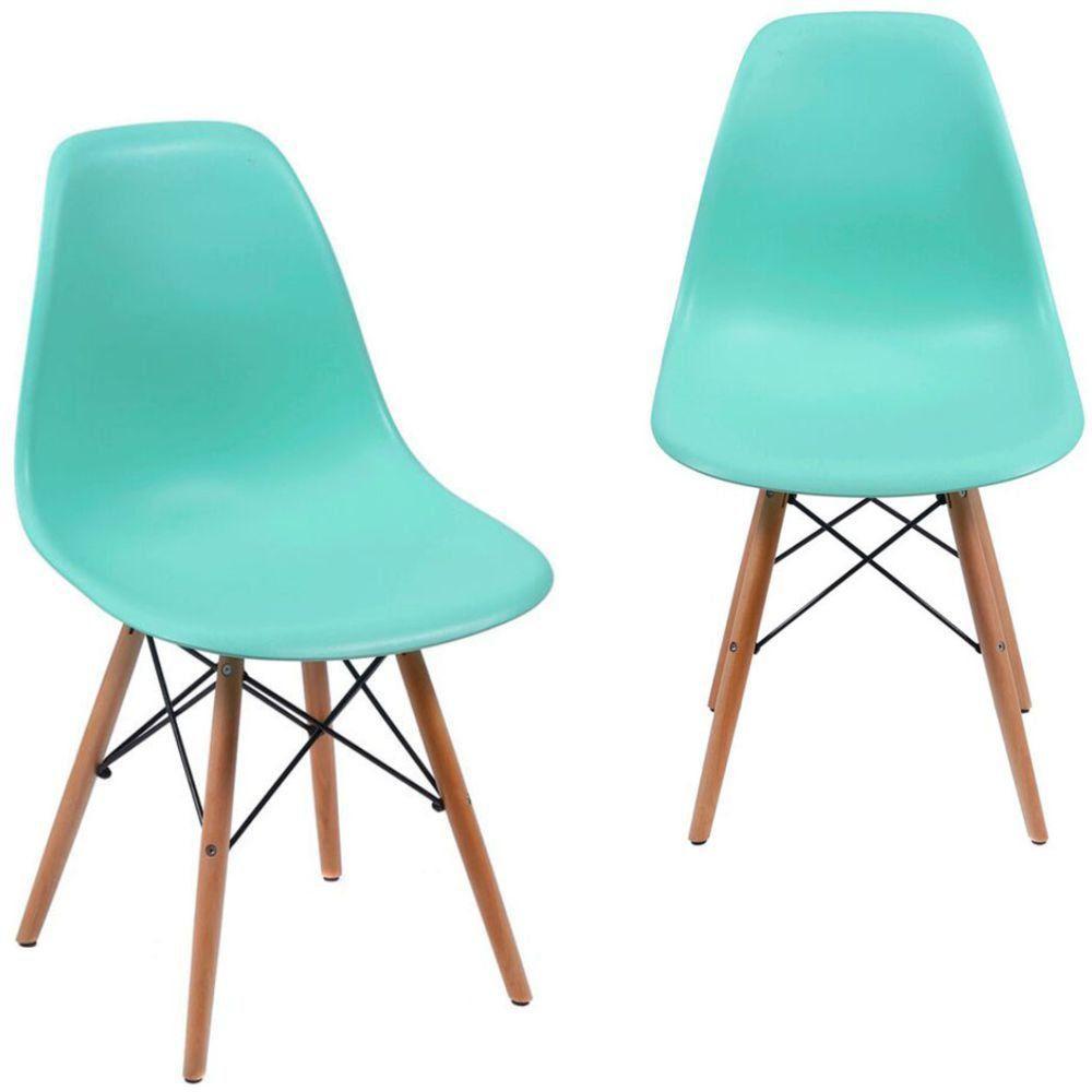 Kit 02 Cadeiras Decorativas Eiffel Charles Eames F03 Azul Claro com Pés de Madeira - Lyam Decor
