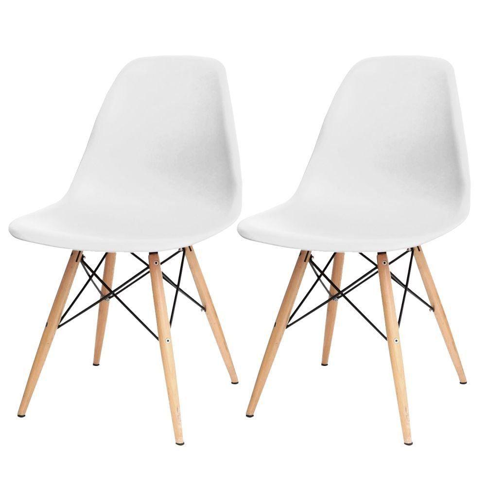 Kit 02 Cadeiras Decorativas Eiffel Charles Eames F03 Branco com Pés de Madeira - Lyam Decor