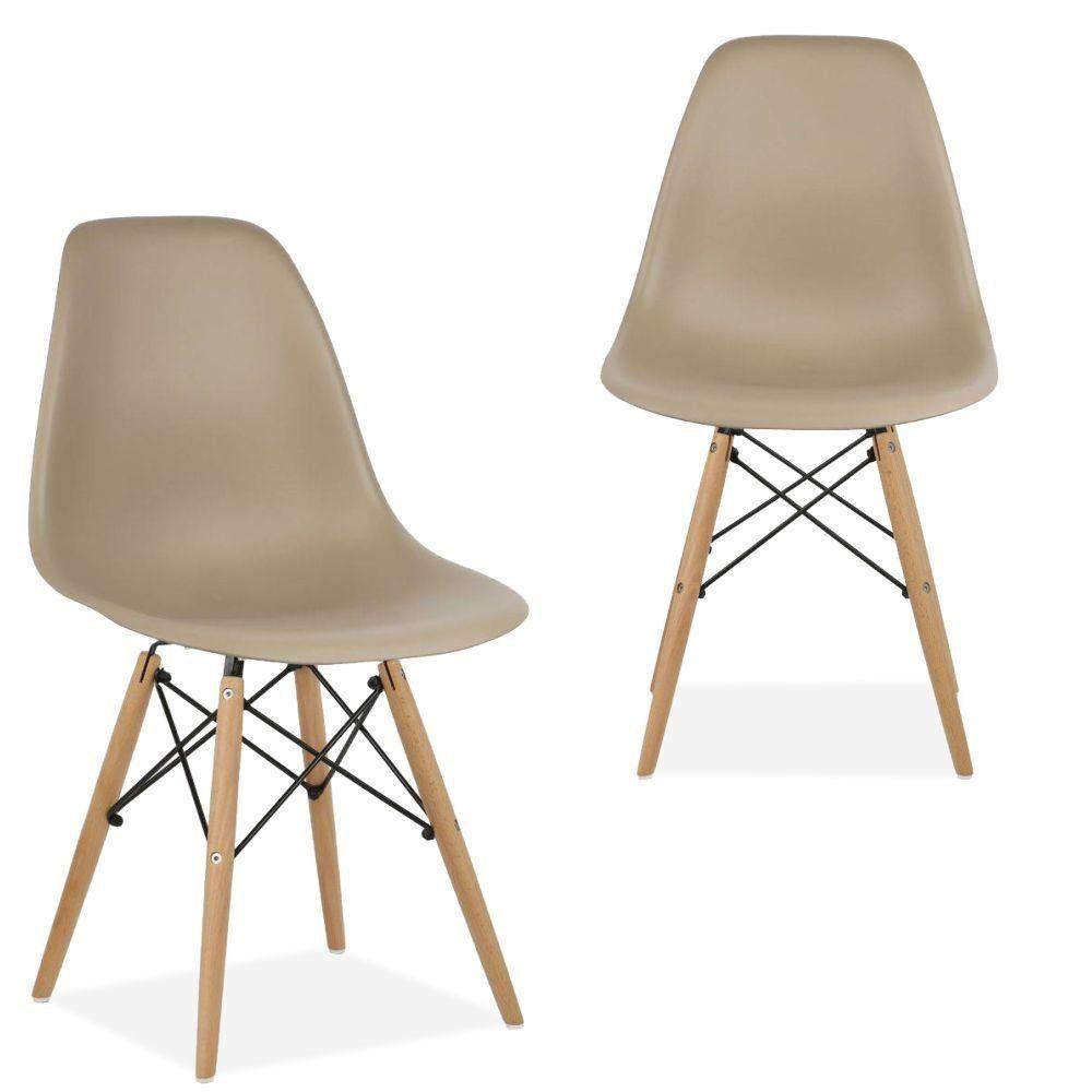 Kit 02 Cadeiras Decorativas Eiffel Charles Eames F03 Nude com Pés de Madeira - Lyam Decor