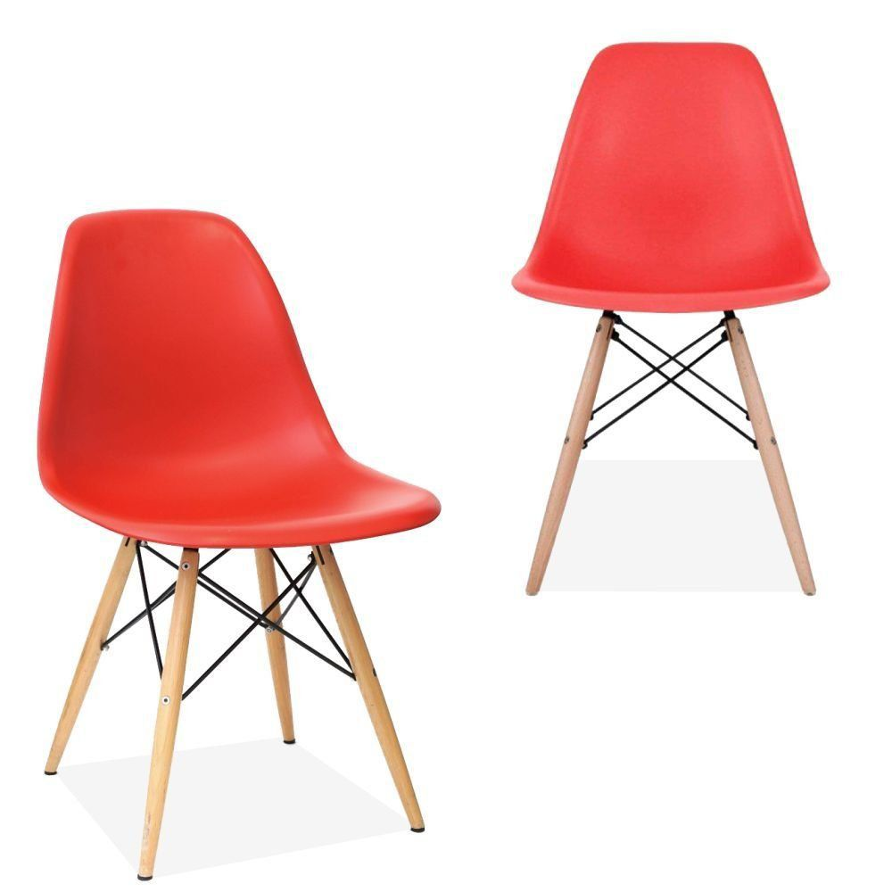 Kit 02 Cadeiras Decorativas Eiffel Charles Eames F03 Vermelho com Pés de Madeira - Lyam Decor