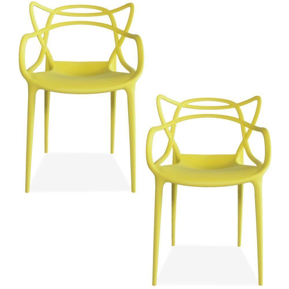 Kit 02 Cadeiras Decorativas Para Sala de Jantar Amsterdam F03 Amarelo - Lyam Decor