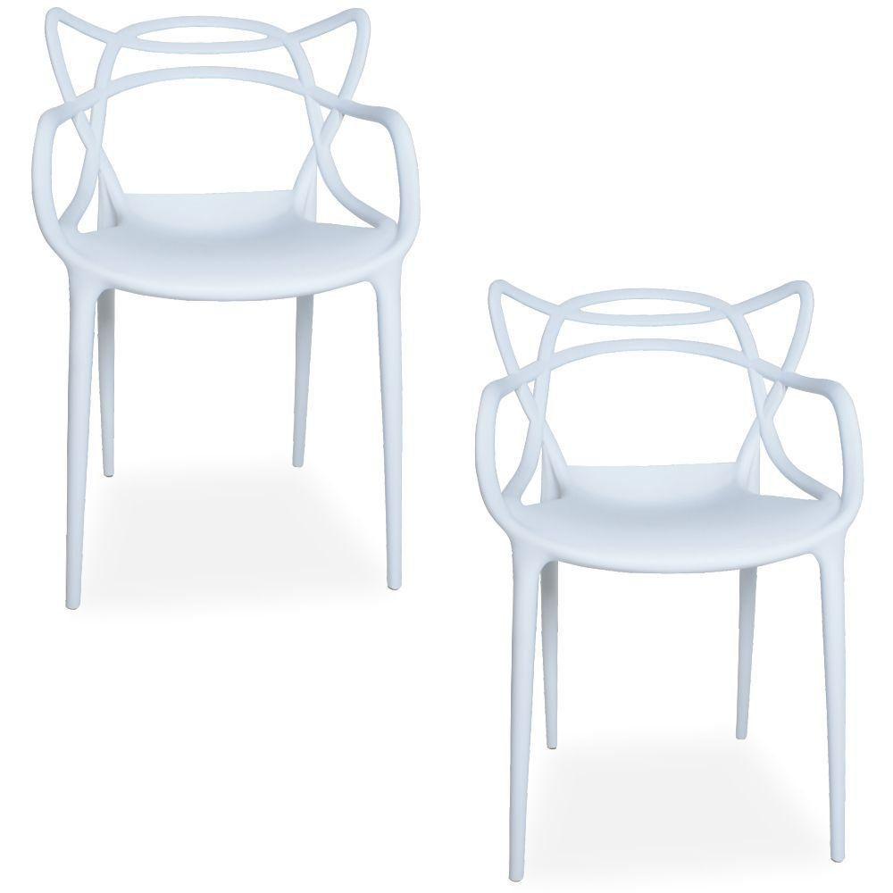 Kit 02 Cadeiras Decorativas Para Sala de Jantar Amsterdam F03 Branco - Lyam Decor