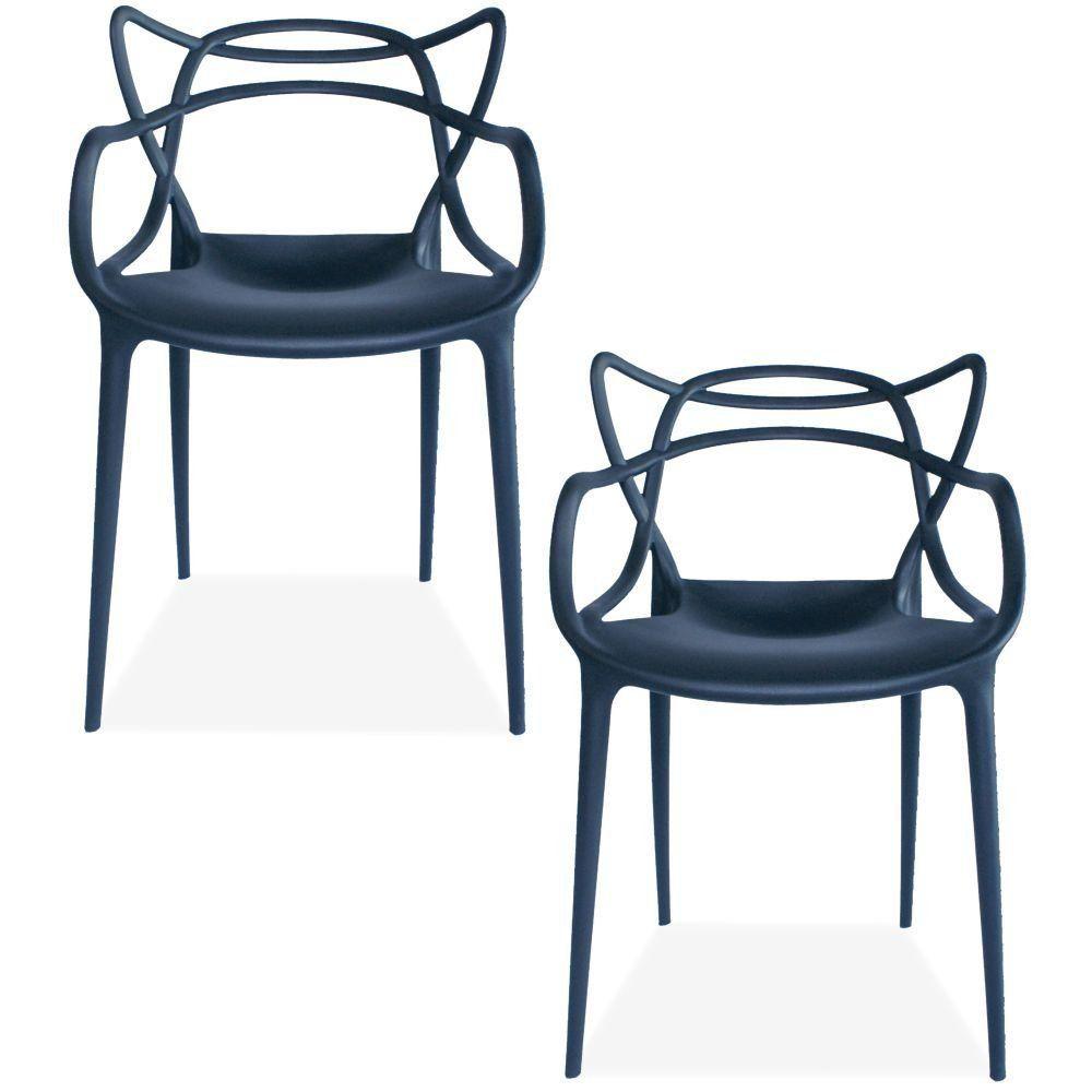 Kit 02 Cadeiras Decorativas Para Sala de Jantar Amsterdam F03 Preto - Lyam Decor