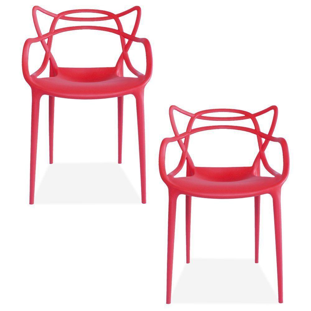 Kit 02 Cadeiras Decorativas Para Sala de Jantar Amsterdam F03 Vermelho - Lyam Decor