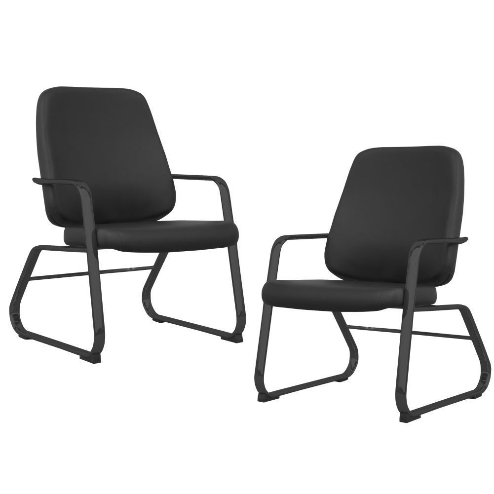 Kit 02 Cadeiras Executiva Diretor Base Fixa Preto Maxxer F02 Couro Ecológico Preto - Lyam Decor