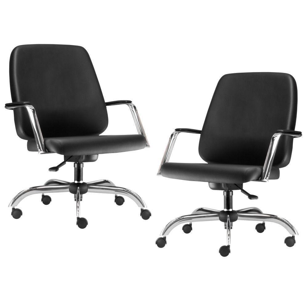 Kit 02 Cadeiras Executiva Diretor Base Giratória Cromado Maxxer F02 Couro Ecológico Preto - Lyam Decor